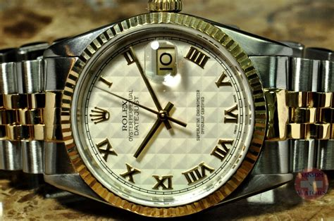 Rolex Datejust 18k Yellow Gold / Steel with Rare Pyramid