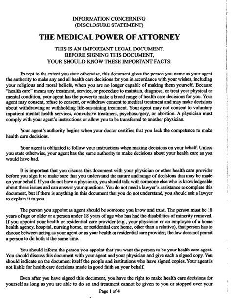 Texas Medical Power of Attorney Form   LegalForms