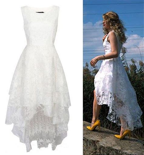 2016 Floral Lace High-low Rustic Wedding Gown Long Short