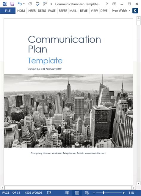 Communication Plan Template (MS Word/Excel) – Templates