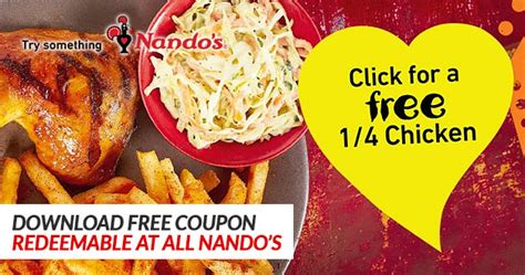 Nando's is giving you a 1/4 Peri-Peri Chicken for free
