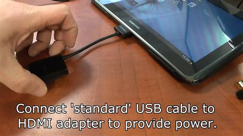 Connect a Samsung tablet to a monitor via a HDMI cable and