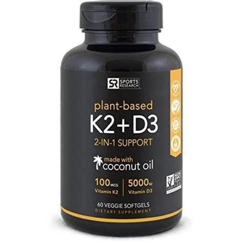Sports Research Vitamin K2 + D3 with Organic Coconut Oil