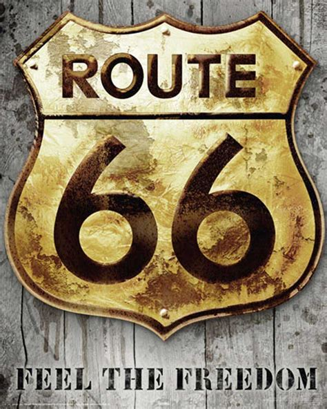 Route 66 - Golden Sign - Mini-Poster - 40x50
